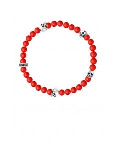 King Baby - Red Coral Bead Bracelet with 4 Skulls King Baby Jewelry, Beaded Necklace, Beaded Bracelets, Red Coral, Skulls, Feminine, Beads, Sterling Silver, Beaded Collar