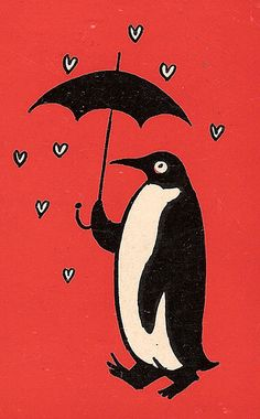 Detail from the back cover of The Lovers by Raymond Peynet, who I presume drew this. The book was published in Penguin Tattoo, Penguin Art, Penguin Love, Cute Penguins, Penguin Books, Antique Books, Vintage Books, Collages, Umbrella Tattoo