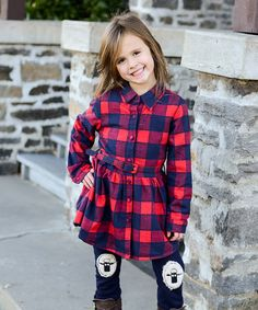 Another great find on #zulily! Red Buffalo Check Fleece-Lined Dress - Toddler & Girls #zulilyfinds