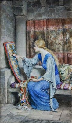 View Awaiting his return by William Henry Margetson on artnet. Browse upcoming and past auction lots by William Henry Margetson. Medieval Art, Renaissance Art, Old Paintings, Beautiful Paintings, Images Esthétiques, Templer, Pre Raphaelite, Victorian Art, Classical Art