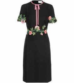 Wool and silk dress with appliqué | Gucci