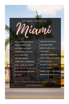 City Guide Miami, Floride Informations About Bucket List Challenge Miami ! City Guide Miami, Floride Pin You can e Travel List, Travel Advice, Travel Hacks, Travel Rewards, Travel Vlog, Disney Travel, Travel Gadgets, Travel Deals, Travel Essentials