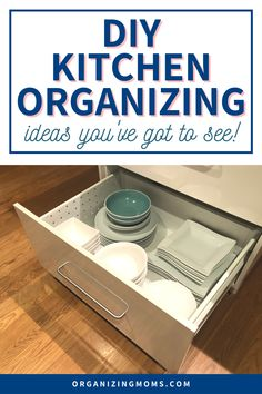 Are you tired of never finding what you want in the kitchen without going to great lengths searching for it? Use these DIY kitchen organization ideas to end the madness and organize your kitchen once and for all! #Organizing #Decluttering #organizingmoms Recipe Organization, Kitchen Cabinet Organization, Organization Hacks, Organizing Tips, Command Center Kitchen, Diy Cans, Organized Mom, Diy Storage, Diy Kitchen