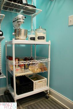 How to organize a pantry - including a moveable cart with all your baking supplies. Oh goodness this is perfect!!!