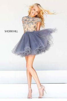1b4d78270ca5 Sherri Hill Beaded Cap Sleeved Short Dress Gunmetal 21304 Hemline, Bodice,  Tulle, Prom