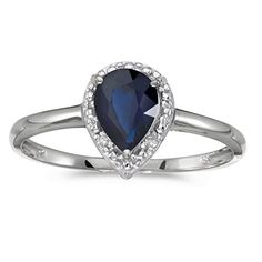 10k White Gold Pear Sapphire And Diamond Ring Size 6 *** Details can be found by clicking on the image.Note:It is affiliate link to Amazon.