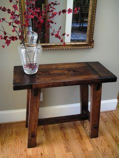 Old World Custom Made 28 Inch Wide Table Made From Rough Hewn Maple