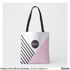 Shop Modern Color Block and Stripes with Monogram Tote Bag created by DancingPelican. Monogram Tote Bags, Personalized Tote Bags, Modern Retro, Modern Colors, Black Stripes, Pink And Green, Pouch, Reusable Tote Bags, Girly