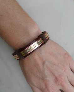 Men's leather Bracelet Men's Copper and Brass by ColeTaylorDesigns