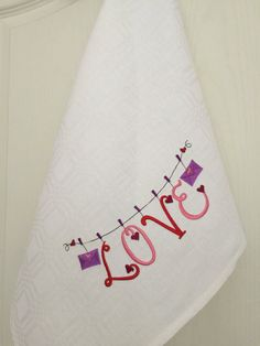 Dish Towel Tea Towel Linen Cotton Embroidery White Wedding Valentine's