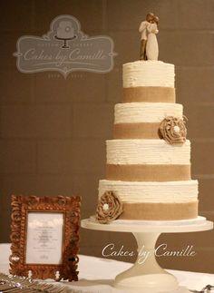 Rustic,Vintage Burlap wedding cake, handmade burlap ruffle flower with pearl center, on textured buttercream cake, willow tree angel topper