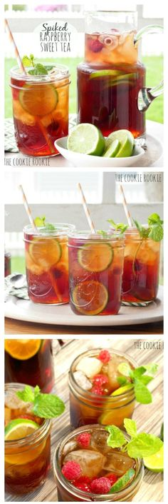 Spiked HOMEMADE Raspberry Sweet Tea is the perfect refreshing cocktail for spring and summer! YUM! - The Cookie Rookie by rhonda.white.52206