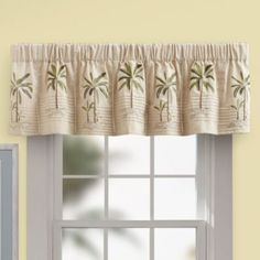 Elegant Palm Tree Valance In Ivory   BedBathandBeyond.com