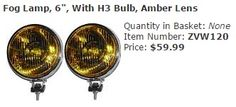 "Fog Lamp, 6"", With H3 Bulb, Amber Lens Item Number: ZVW120 Price: $59.99 These are sold as a pair, fits on all Bug's, Bus's, Ghia's, and Type 3's. #aircooled #combi #1600cc #bug #kombilovers #kombi #vwbug #westfalia #VW #vwlove #vwporn #vwflat4 #vwtype2 #VWCAMPER #vwengine #vwlovers #volkswagen #type1 #type3 #slammed #safariwindow #bus #porsche #vwbug #type2 #23window #wheels #custom #vw #EISPARTS"