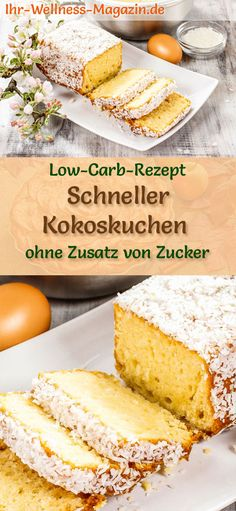 All Time Easy Cake : Fast Low Carb Coconut Cake - Simple Recipe Without Sugar - Low Carb Cake . Fast Dessert Recipes, Paleo Dessert, Low Carb Desserts, Healthy Desserts, Baby Food Recipes, Low Carb Recipes, Cake Recipes, Low Carb Köstlichkeiten, Fast Low Carb