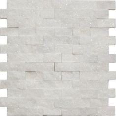 Bianco White Carrara Marble 1x2 Brick Split Face Mosaic Mesh Mounted Tile. #Mesh_Mounted_Tile #Bianco_White_Carrara_Marble