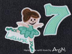 Aufnäher - Aufnäher Ballerina mit Namen ♥ Geburtstag-Zahl - ein Designerstück von AnCaNi bei DaWanda