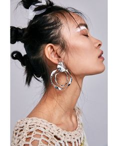 Image 4 of SILVER HOOP EARRINGS from Zara