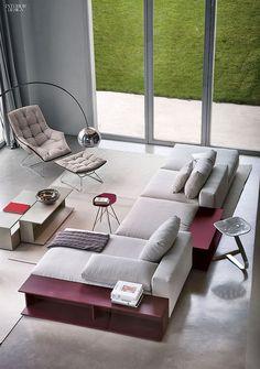 Living Room Modular sofa Scott, Armchair and Foot stool designed by Ludovica & Roberto Palomba for Zanotta