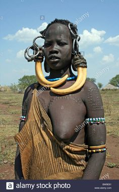 Mursi Tribe Woman, Omo Valley, Ethiopia Stock Photo
