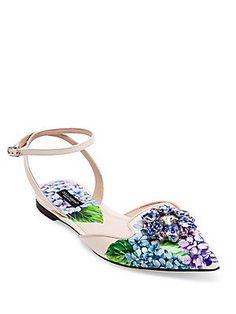 Dolce & Gabbana Crystal-Embellished Hydrangea-Print Leather Ankle-Strap Flats
