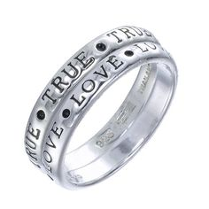 True Love rings for a couple in love. Inspirational Quote Rings in Affordable Sterling Silver