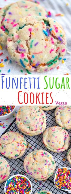 Easy and chewy vegan funfetti sugar cookies packed with rainbow sprinkles! Dairy free and egg free and so moist and delicious. Healthy Vegan Desserts, Healthy Cookie Recipes, Vegan Dessert Recipes, Vegan Sweets, Raw Food Recipes, Healthy Sugar, Vegan Snacks, Seafood Recipes, Easy Vegan Cookies