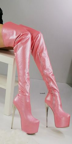 Pink Strech Thigh High Metallic Heel Boots