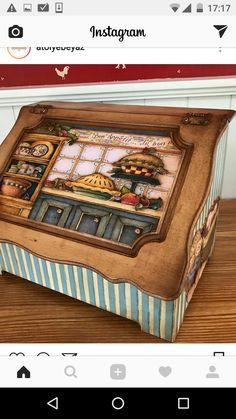 Coffee Accessories, Kitchen Accessories, Coffee Box, Cookie Time, Tea Box, Bread Boxes, Country Paintings, Vintage Wood, Painting On Wood