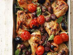 Ofen-Hähnchen mit Gemüse - smarter - Kalorien: 494 Kcal - Zeit: 25 Min. | eatsmarter.de