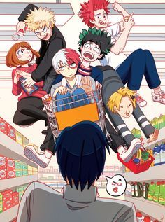 Lol Bakugou trying to steal food from Uraraka and Denki is using Deku as a couch. While Todoroki is the couch. My Hero Academia Shouto, Hero Academia Characters, Boku No Hero Academia Funny, Boku No Academia, Kirishima My Hero Academia, Boku No Hero Uraraka, Fanart Manga, Animé Fan Art, Satsuriku No Tenshi