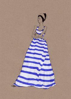 #yearofpattern daphne van den heuvel van den, vans, blue, art, den heuvel, daphn van, dens, fashion illustrations, stripe
