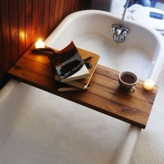 Relaxing love this wooden bath table would be easy to make so cute