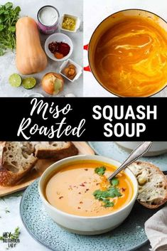 This Roasted Butternut Squash Soup recipe is made with the delicate flavours of coconut, miso, and lime. Silky smooth, this vegan soup recipe is comforting, nourishing, and complex. Veggie Recipes Healthy, Tasty Vegetarian Recipes, Vegan Soups, Coconut Soup, Thai Coconut, Vegetarian Comfort Food, Roasted Butternut Squash Soup, Meal Prep Bowls, Winter Food
