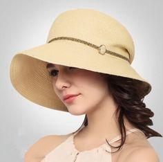 Khaki wide brim straw hat for women package sun hats UV sunscreen