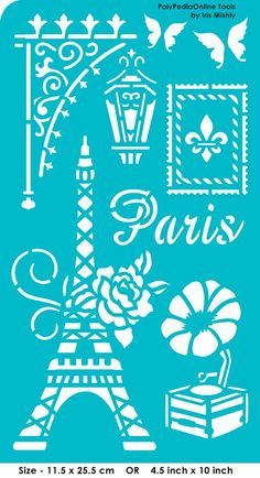 "Stencil Stencils Templates ""Paris"", self-adhesive, flexible, for polymer clay…"