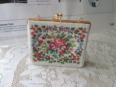 Margrit Raebsamen Rose Needlepoint purse Evening by Collectique, $45.00