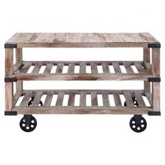 """Add a touch of industrial-chic style to your home with this wood and metal kitchen cart. Let it double as a console table with framed photos and a vibrant bouquet, or stock it with hors d'oeuvres and glassware at your next soiree.       Product: Kitchen cartConstruction Material: Wood and metalColor: NaturalFeatures: Two slatted shelves Caster feetDimensions: 32"""" H x 52"""" W x 18"""" D"""