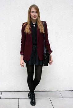 Deep maroon blazer over black