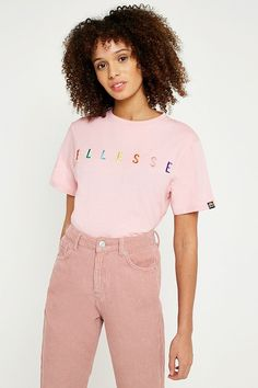 Slide View: 1: Ellesse Pink Rainbow Embroidered Logo T-Shirt
