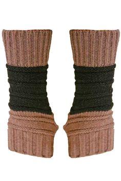 Block Stripe Knit Fingerless Gloves