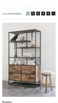 Bookcase low, 4 drawers, 4 open racks d-Bodhi Urban Collection Kasten Shelf Furniture, Metal Furniture, Industrial Furniture, Modern Furniture, Furniture Styles, Furniture Projects, Furniture Design, Regal Industrial, Muebles Living