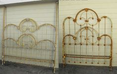 Great King/Canopy Conversion w/ brass re- installed. Vintage Bed Frame, Antique Iron Beds, Great King, Canopy, Antiques, Mountain, Brass, Rooms, Top