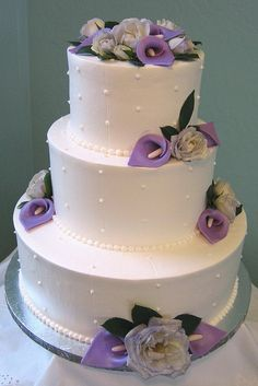 Purple Calla Lily Wedding Cake by Graceful Cake Creations, via Flickr