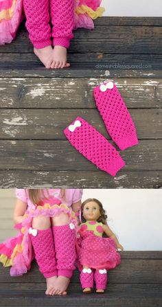 Check out how to make these cute leg warmers for your girl, along with mini ones for her doll, as a holiday gift!