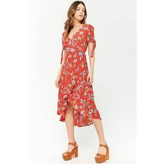 Forever 21 Floral Surplice Midi Dress  Tomato/blush ($20) ❤ liked on Polyvore featuring dresses, short in front long in back dress, floral dresses, white high low dress, short floral dresses and floral midi dress
