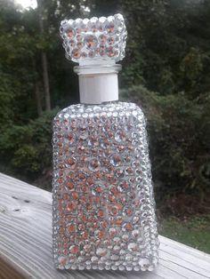 Bling Liquor Bling Bottle//Birthday B Bedazzled Liquor Bottles, Decorated Liquor Bottles, Bling Bottles, Lighted Wine Bottles, Perfume Bottles, Bead Bottle, Glass Bottle Crafts, Diy Bottle, Bottle Art