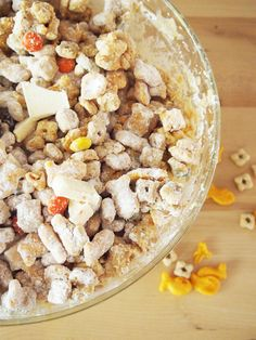 An easy to make, sweet and salty treat with cereal, crackers, candy, and peanut butter.