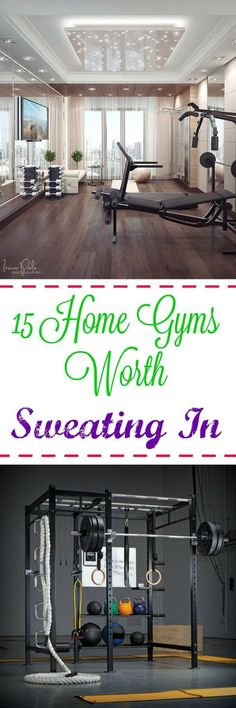 15 Home Gyms Worth Sweating In: Need some help with motivation? - 15 Home Gyms Worth Sweating In: Need some help with motivation? A gorgeous, stylish home gym will m - Home Gym Garage, Basement Gym, Garage Attic, Attic Renovation, Attic Remodel, Home Gym Mirrors, Gym Lighting, Table Lighting, Lighting Ideas