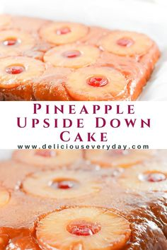 This Pineapple Upside Down Cake is rich with a base layer of sweet brown sugar and tart pineapple slices. A homemade golden cake that's simply irresistible! #cakerecipe #pineappledessert #dessertrecipe #pineapple Vegetarian Christmas Recipes, Easy Holiday Recipes, Recipes Dinner, Pineapple Upside Down Cake, Pineapple Slices, Holiday Baking, Christmas Baking, Easy Desserts, Delicious Desserts